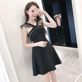 618好康又一發夏季黑色V領歐根紗拼接荷葉邊無袖連衣裙女修身性感露背小禮服裙