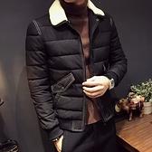 夾克外套-羔羊毛領冬季保暖時尚明線夾棉男外套2色73qa17[時尚巴黎]