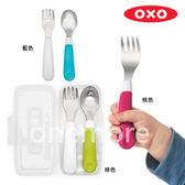 【one more】美國代購 正品 美國 OXO 兒童防滑不鏽鋼湯叉含盒組 湯匙、叉子各一