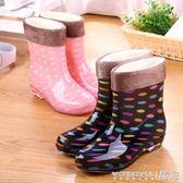 加絨雨鞋女成人中筒防滑膠鞋韓國時尚水鞋女短筒雨靴保暖可拆卸冬晶彩生活