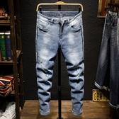 男牛仔褲 窄管褲 單寧牛仔長褲 夏季薄款淺藍色破洞刮爛彈力修身小腳褲潮流韓版男褲子cs2445