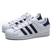 ADIDAS ORIGINALS SUPERSTAR 白 紫 皮革 貝殼頭 休閒鞋 女 (布魯克林) EF9241