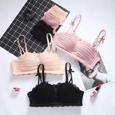 無鋼圈少女學生內衣上托聚攏小胸罩日系雪紡性感蕾絲加厚文胸套裝