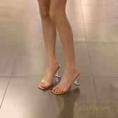 夏季透明涼鞋女中跟粗跟水晶高跟鞋一字帶涼拖鞋【繁星小鎮】