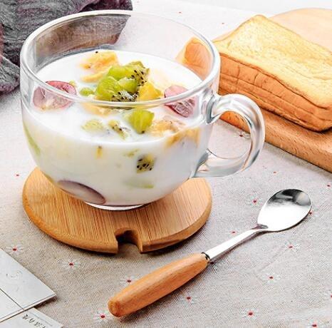 水杯 透明燕麥早餐杯牛奶咖啡玻璃杯子家用帶蓋勺大肚水杯風女帶把【快速出貨八折下殺】