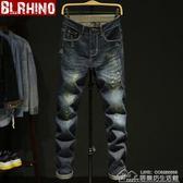 牛仔褲男寬鬆褲子青年長褲子修身直筒復古色破洞牛仔長褲男褲 居樂坊生活館