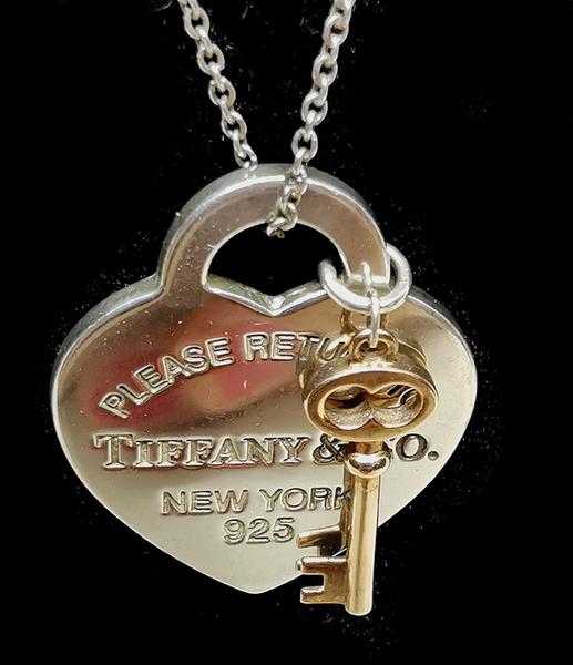 【雪曼國際精品】【Tiffany&Co. 蒂芙尼】專櫃正品 925 純銀 愛心項鍊、鑰匙+愛心牌~二手(9成新)