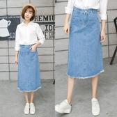牛仔裙半身裙夏裝新款淺藍牛仔裙半身長裙牛仔中長裙 Korea時尚記