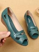 涼鞋女中老年鞋媽媽鞋40-50歲夏季皮質魚嘴平底軟底單鞋