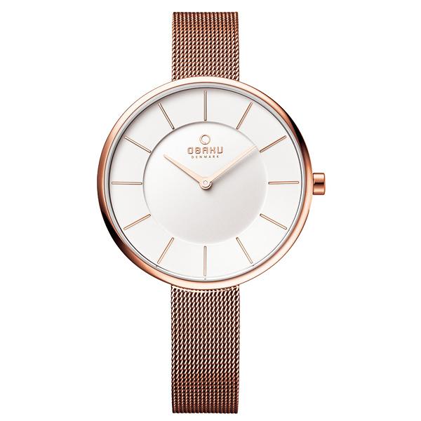 OBAKU 雅悅媛式時尚米蘭腕錶-玫瑰金框白-大