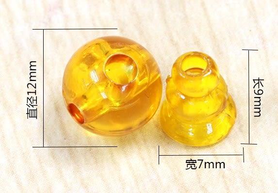 [協貿國際]合成琥珀蜜蠟藏式佛頭三通佛塔DIY飾品(6入價)