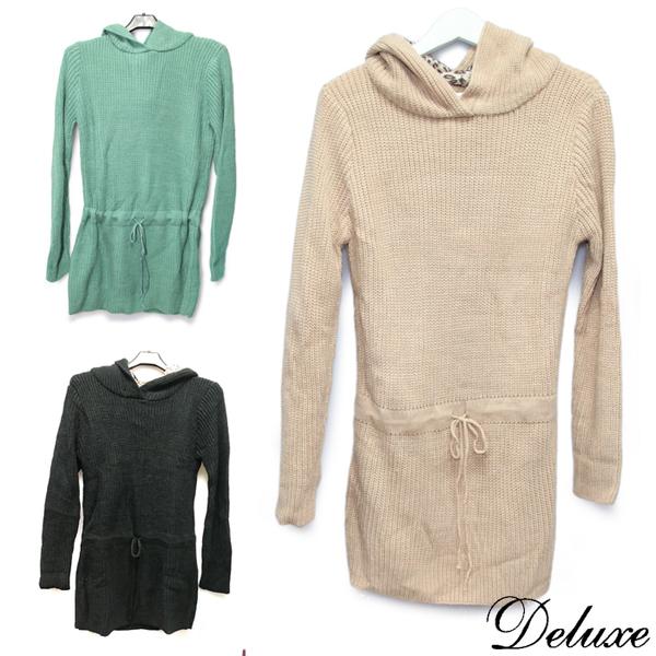 【Deluxe】秋冬版-時尚綁帶長袖連身針織洋裝-長上衣-黑-綠-米)
