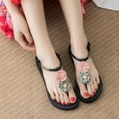 涼鞋花朵涼鞋女夏平跟新品波西米亞民族風平底百搭度假海邊沙灘鞋