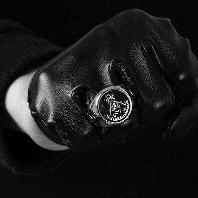 鈦鋼戒指 -歐美復古霸氣精選生日聖誕節禮物男飾品73le136[時尚巴黎]