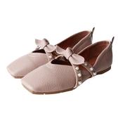 平底單鞋女秋方頭軟底防滑新款蝴蝶結小清新學院風軟妹平跟鞋