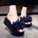 厚底拖鞋夏季網紅涼拖鞋女外穿高跟一字拖蝴蝶結防滑厚底海邊度假沙灘鞋特賣