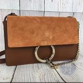 BRAND楓月 CHLOE FAYE 棕色 焦糖色 麂皮 拼接 口蓋 掀蓋 多夾層 肩包 側背包