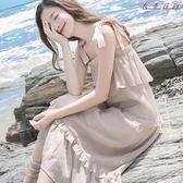 女奶油裙文藝復古一字肩雪紡吊帶洋裝