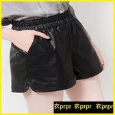 皮褲短褲 pu皮褲裙a字闊腿褲寬鬆大碼