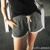 韓版純棉運動短褲女夏學生潮寬鬆大碼跑步健身瑜伽家居沙灘褲翻邊 美芭