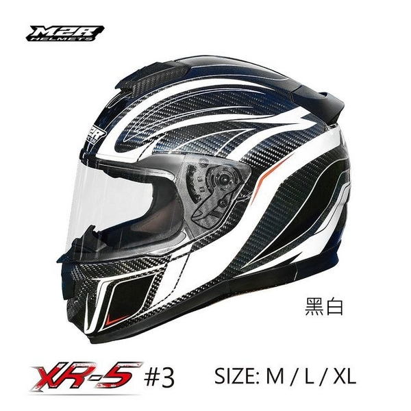 M2R安全帽,碳纖維安全帽,XR5,#3/黑白