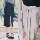 單邊開岔腰綁帶窄版長裙S-XL【AD08...