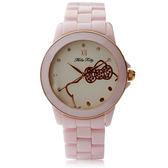 Hello Kitty LK673 三麗鷗正版授權 粉嫩色系晶鑽陶瓷石英腕錶 - 粉紅