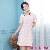 Red House 蕾赫斯-粉嫩圓點蝴蝶結洋裝(粉色)