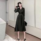 OL洋裝 赫本風秋冬季小黑裙女裝2020新款長袖裙子黑色心機收腰長款連衣裙 萬聖節鉅惠