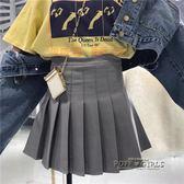 高腰百褶半身裙女 夏新款韓版純色修身顯瘦A字裙短裙百搭學生