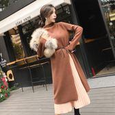 大韓訂製針織洋裝套裝韓版秋冬兩件式連身裙文青森林系鉛筆裙