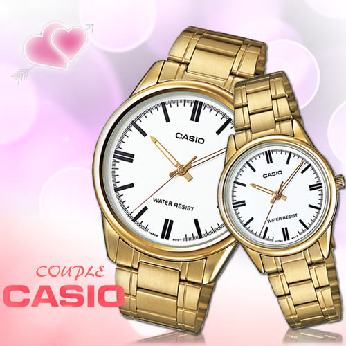 CASIO卡西歐 手錶專賣店 MTP-V005G+LTP-V005G 氣質對錶 指針 礦物玻璃鏡面 生活防水 不鏽鋼錶殼錶帶