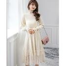 公主風蕾絲立領腰身過膝宴會洋裝[99108-QF]美之札-優雅收腰雪紡洋裝