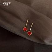 紅色愛心耳釘925銀針網紅氣質女簡約小巧桃心耳環圣誕耳飾耳墜