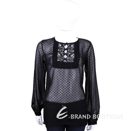 CLASS roberto cavalli 黑色點點簍空蕾絲長袖上衣 1440578-01