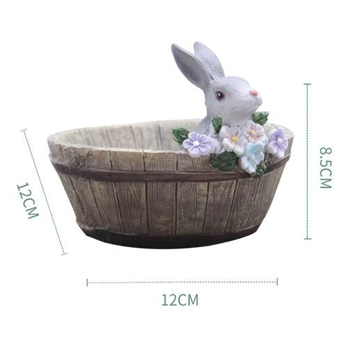 X 花朵兔兔木桶多肉花盆 兔子多肉簡約花盆 盆栽【D008001】