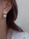 耳環 X字母珍珠耳釘女夏輕奢高級感復古大氣氣質法式網紅耳環夏季 款