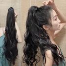 馬尾假髮女長髮玉米燙自然網紅辮子長捲髮大波浪綁帶式高假馬尾片