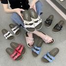 拖鞋.MIT經典百搭雙系帶金屬釦厚底拖鞋.白鳥麗子