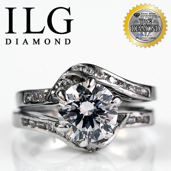 【ILG鑽】頂級八心八箭擬真鑽石戒指-一見鍾情款-RI032 主鑽約1.5克拉 生日禮物小資女OL最愛