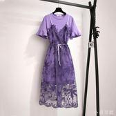 洋裝套裝2019新款小香風連身裙洋氣很仙紫色蕾絲吊帶裙兩件式 mj15238『小美日記』