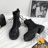 馬丁靴女單靴透氣網紗鏤空薄款瘦瘦靴內增高短靴【慢客生活】