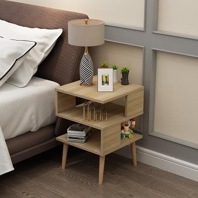 組裝臥室迷你床頭收納櫃簡易床邊收納櫃小茶几40寬木質高腳款WY