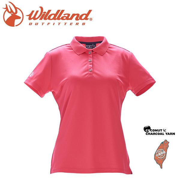 【Wildland 荒野 女 椰炭紗YOKE領抗菌上衣《嫣紅色》】0A71657/POLO衫/運動上衣抗UV/涼爽散熱/吸濕快乾