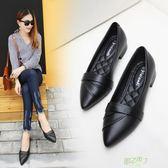 低跟鞋 新款尖頭百搭粗跟單鞋女平底小皮鞋低跟通勤工作鞋淺口女鞋 交換禮物