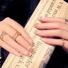 光療感指甲油假指甲片成品時尚新娘網紅穿戴甲片持久防潑水美甲片 D15裸粉圈鑽石配外套皮衣風衣