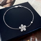 詩佩珠寶 新款S925純銀手錬抗歐美時尚簡約設計花朵精緻微鑲優雅