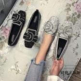 豆豆鞋女平底水鉆奶奶船鞋子韓版大碼方頭淺口單鞋【時尚大衣櫥】