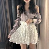 百摺裙夏季東大門熱款甜美風荷葉邊羽毛花瓣百摺半身裙短裙 法布蕾輕時尚