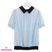 【SHOWCASE】簡約黑領拼接條紋雪紡襯衫(藍)